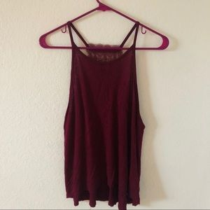 American Eagle maroon lace racer back tank top